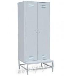 Шкаф для одежды на подставке с металлической скамьей 2-х